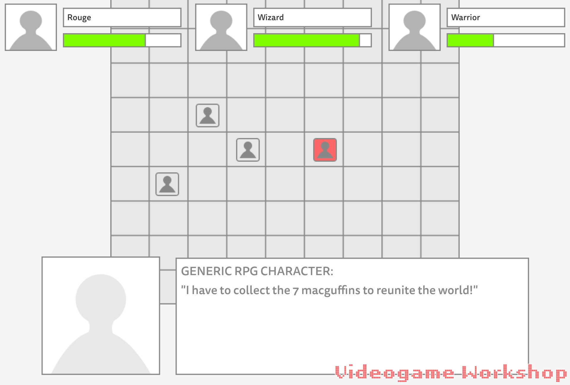 Image of a wireframe for a generic tactical RPG